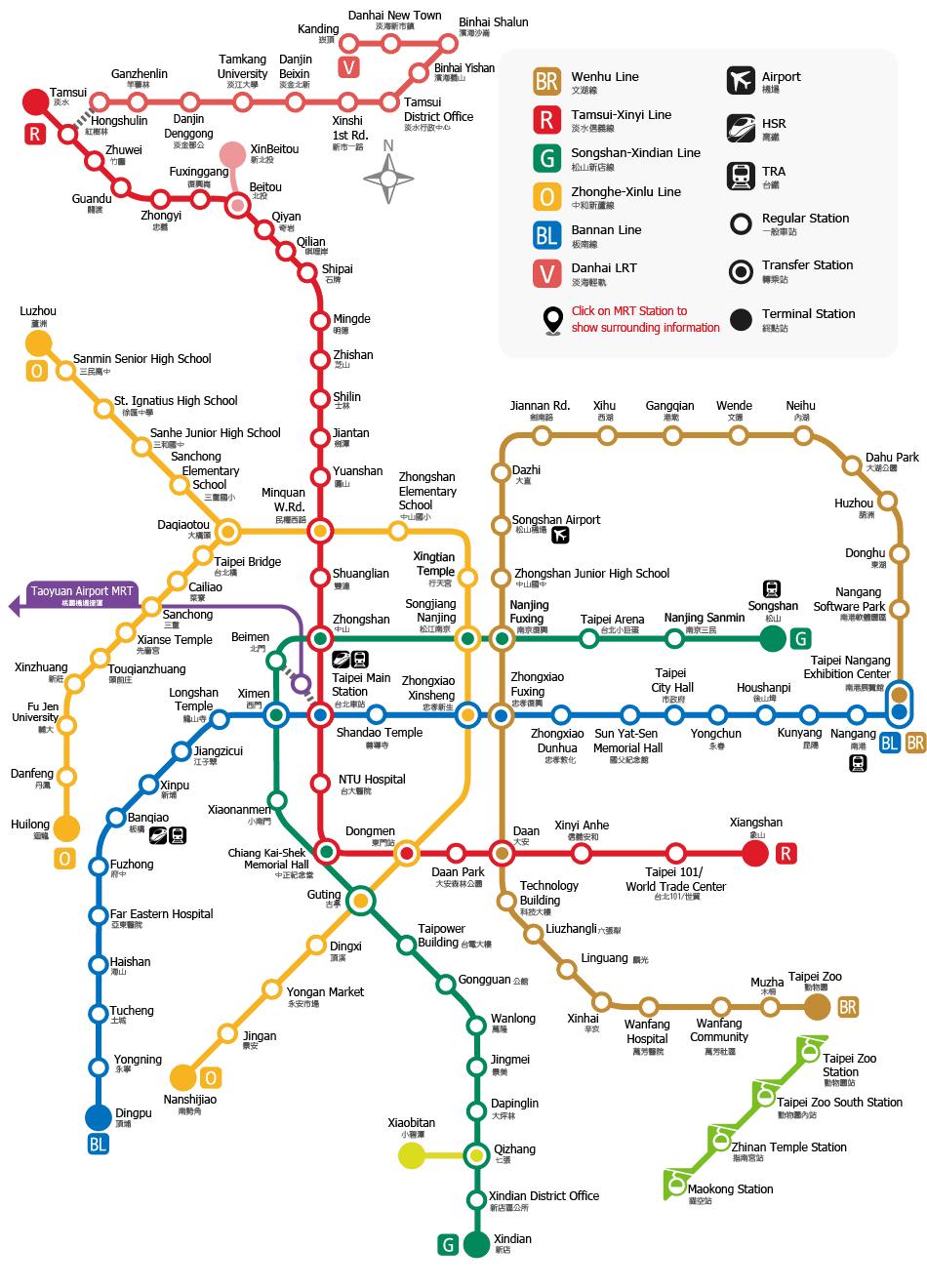 Mrt Taipei Mass Rapid Transportation Taipei Mrt Map